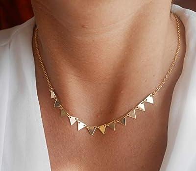 Collier triangles plaqué or - bijoux géométrique - chaîne doré - collier triangles or - Bijoux triangle - bijoux boho - collier empilable