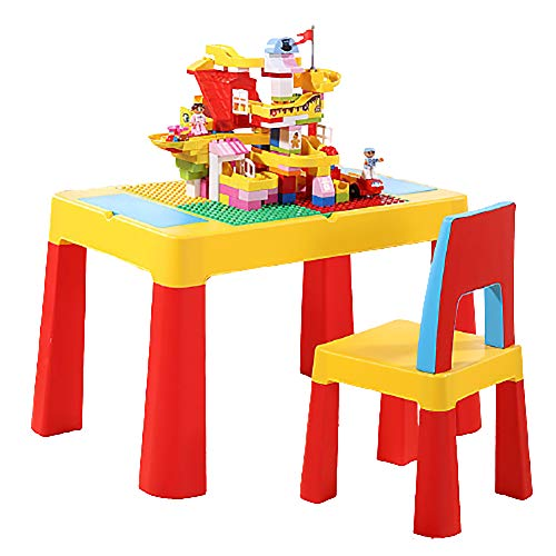 4 in 1 Children's Table Chair Set, Multifunctional Building Block Game Learning Desk, Child Activity Storage Table with Building Blocks and Heightening Pad