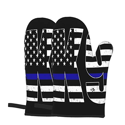 QINQ Police K9 Thin Blue Line 7 Oven Mitts Silicone and Cotton Heat Resistant Gloves, for BBQ Baking Grilling Barbecue Microwave Machine