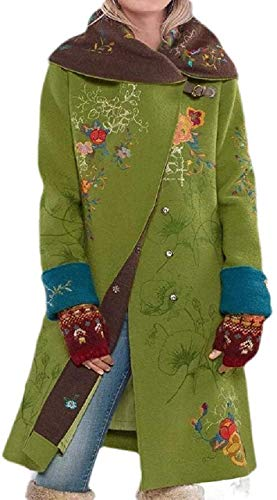 CHEXPEL Womens Winter Single Breasted Wool Blend Overcoat Floral Long Pea Coat Outwear