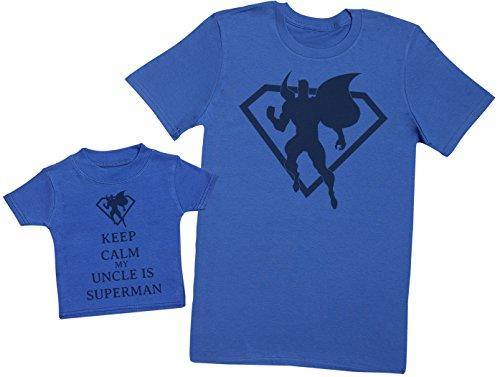 Keep Calm My Uncle is Superman - Passende Vater Baby Geschenkset - Herren T-Shirt & Baby T-Shirt/Baby Top - Blau - Large & 3-6 Monate