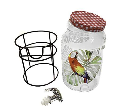 Cuisine Elegance Getränkespender aus Glas mit Zapfhahn und Ständer, Volumen ca. 3 Liter, Design Papagei oder Tucan (Papagei)