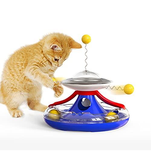 AHURGND Boule de Fuite de Platine de Chat à turle, Jouets de Chat interactif, Balance Auto-Rotation Auto-rotative, pour Chats d intérieur avec Distributeur de Nourriture, Jouets de Chat à 360 ° Boule