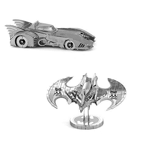 Metal Earth Fascinations Batman - 1989 Batmobile y Batman Movie Batwing Rompecabezas de metal 3D, modelos de corte por láser, 3D metal Puzzle