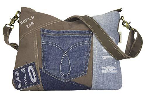 Sunsa Damen Tasche Umhängetasche Handtasche klein Canvas bag mit Jeans und Leder Vintage Design Teenager Taschen praktische Geschenke Bags for Women Schultertasche Damentaschen sale braun blau