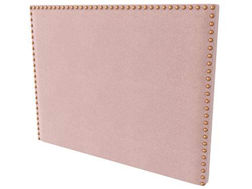LA WEB DEL COLCHON - Cabecero tapizado Tachuelas para Cama de 105 (115 x 120 cms) Rosa Palo Textil Suave | Cama Juvenil | Cama Matrimonio | Cabezal Cama |