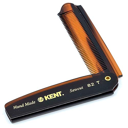 """Kent 82T 4"""" Handmade Folding Pocket Comb for Men, Fine Tooth Hair Comb Straightener for Everyday Grooming Styling Hair, Beard or Mustache, Use Dry or with Balms, Saw Cut Hand Polished, Made in England"""