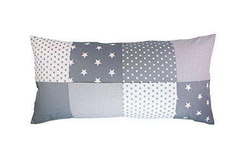 Funda patchwork para cojín de ULLENBOOM ® con estrellas grises (funda para cojín de 40x80 cm; 100% algodón; ideal como cojín decorativo o de adorno para la habitación de los niños)