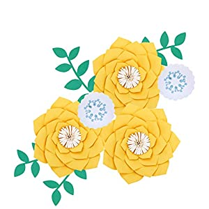 Fonder Mols Artificial Dahlia Paper Flower Decorations for Nursery Wall Decor, Baby Shower Backdrop (Yellow)