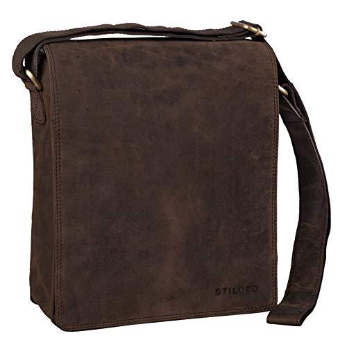 STILORD \'Lars\' Vintage Umhängetasche Leder Herren für 13,3 Zoll Tablet MacBooks und iPad Schultertasche Herrentasche Messenger Bag Echtleder, Farbe:Colorado - braun