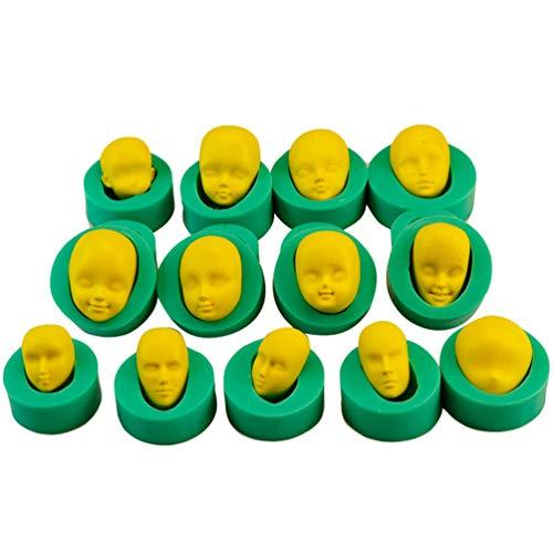 JEELINBORE 3D Forma Stampo in Silicone per Fondente, Decorazioni Torte, Stampo per Torte Stampi con Forme Particolari (Faccia, 13pcs)