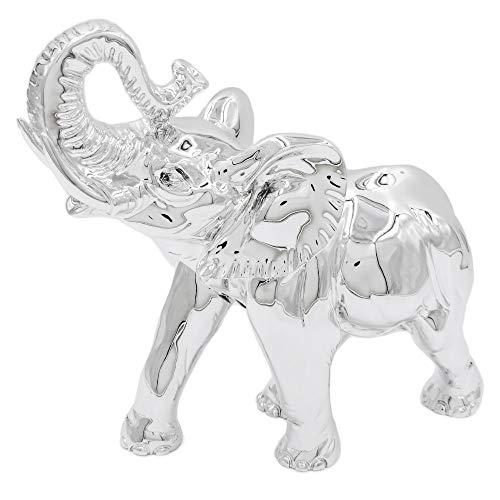 Elefante Portafortuna in Resina Argentata Medio con ZANNE Statua Misura 18 cm Soprammobile Arredo Casa - Scatola Regalo Inclusa - Made in Italy