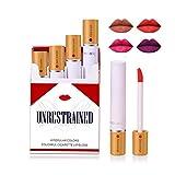 Ibcccndc 4 Pcs Cigarette Lip Gloss Stick Pack Set,All-Day Lip Color Custom Nudes,Long Lasting Waterproof Liquid Lip Stick (001)