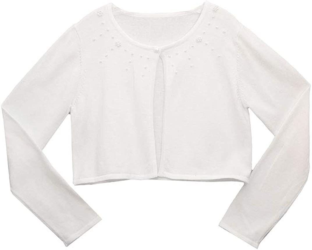 Bonnie Jean White First Communion Cardigan with Pearl Detailing