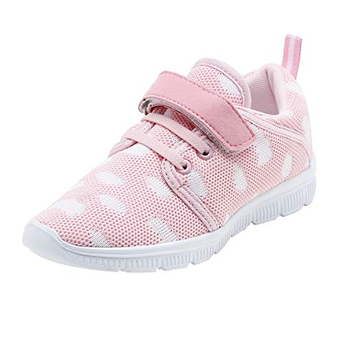 Abertina Kids Lightweight Breathable Running Sneakers Easy Walk Sport Casual Shoes for Boys Girls (9.5 Toddler,Light Pink White,27)