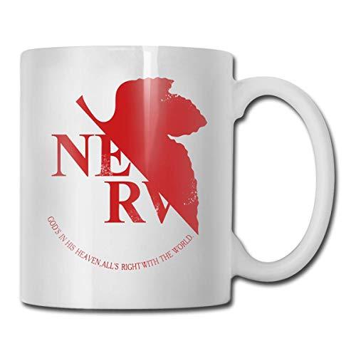 Daawqee Tazas Coffee Mug Grunged NERV Mug Funny Ceramic Cup for Coffee and Tea with Handle, White