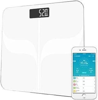ZKYXZG Escala de peso Peso inteligente Básculas de piso Balanza digital Mi Bluetooth Báscula Peso corporal Báscula de baño LCD electrónica Blanco Negro, Blanco