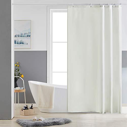 Furlinic Duschvorhang 120x180 Textil Badvorhang aus Polyester Stoff Schimmelresistent Wasserabweisend Waschbar Beige mit 8 Duschvorhangringen.