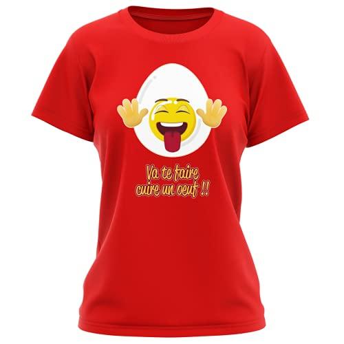 Okiwoki - Maglietta da donna con scritta 'Parodie Funny - umoristica', collezione 'Humour et Fun Va Te faire Cuire Un Oeuf' (maglietta di alta qualità, stampata in Francia) rosso S
