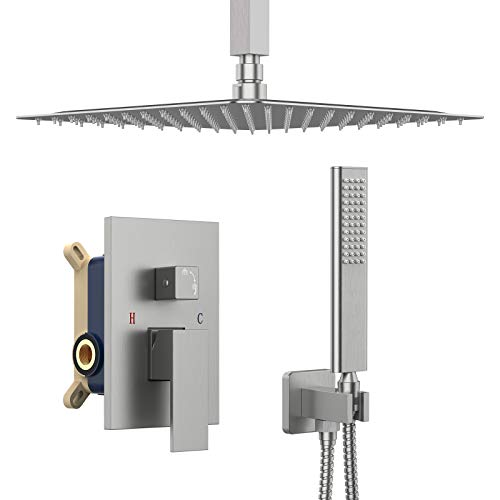 IRIBER Ceiling Mount Rain Shower System with Shower Head and Handheld Bathroom Shower Set Contain Shower Faucet Mixer and Trim Kit (Valve Included) (Brushed Nickel)