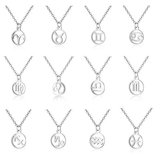 XYBB Acero Inoxidable de la Estrella del Zodiaco del Neckless 12 Constelación Colgante Collar de Cadena de Oro de Las Mujeres Collar de la joyería de los Hombres