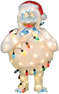 ProductWorks Pre-Lit Faux Fur Bumble with Light Strand Christmas Yard Art Decoration and Clear Lights, 32