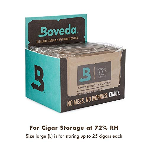 Boveda for Cigars/Tobacco | 72% RH Humidity Control Packs | Size Large for Use with Up to 25-100 Cigars | Patented Technology For Cigar Humidors | 12-count Retail Carton