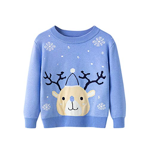 Baby Christmas Sweater Xmas Jumper Baby Girls Boys Reindeer Santa Snowmen Print Fleece Warm Knitwear Children Christmas Jumpers Swetshirt Long Sleeved New Year Red Knitted Sweater Pullover Top