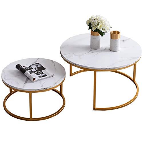 Satztische Fürs Wohnzimmer - Kaffeetische Satz - Couchtische - Wohnzimmertisch rund - Kaffeetische Satz 2 - L80x B 80xH45 cm (groß) & L60x B60x H33CM (klein) (Weiß)
