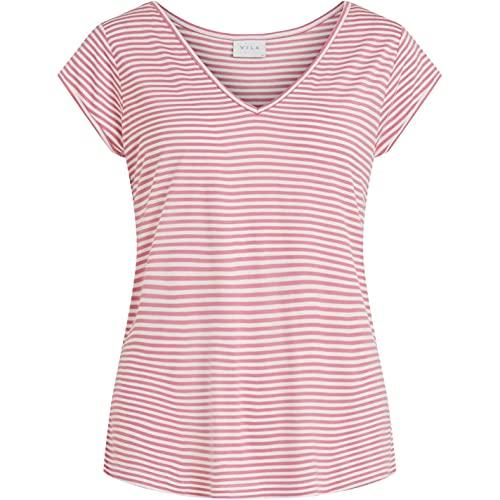 Vila Mujer Camiseta Casual Cuello V Manga Corta Rayas Rosa Salvaje L