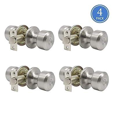 Knobonly 607 609 Door Knob Sets Privacy Passage Function Door Lock Keyless Interior Door Handles Brushed Nickel Finish, Contractor Pack of 4