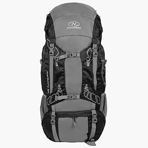 """HIGHLANDER 85 Liter Discovery Rucksack Leichter Wanderrucksack mit wasserdichter Hülle - Ideal zum Wandern, Reisen, Trekking, Camping und """"D of E"""" - Schwarz"""