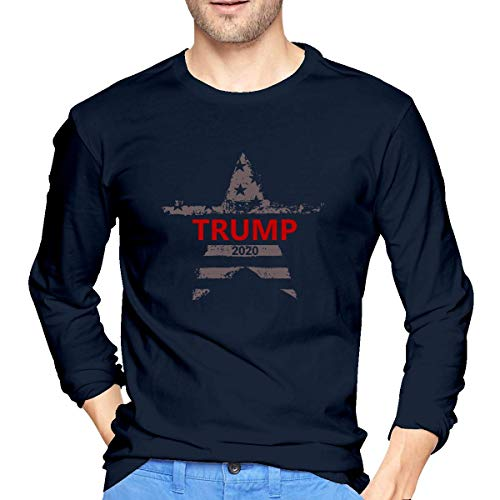 Donald Trump Campaign 2020 Men's Cotton Long Sleeve Round Neck Fashion T-Shirt Suitable for Spring and Autumn