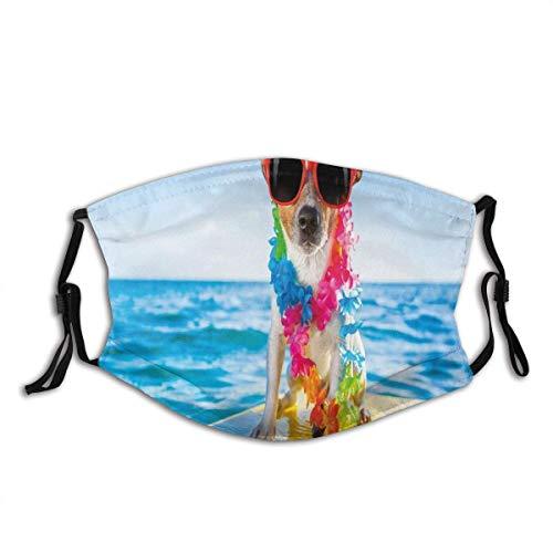 Mund Schal, Hund im Ozean Surfen Coole Welpen Schwimmen Comic Coastal Animal Bild, niedlichen Gesicht Schal für Baby 20x15cm