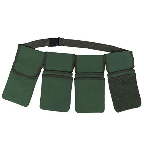 XinPengtai Trädgård Midja Väska Trädgårdsverktyg Förvaring Väska Midja Bälte Hängande 4?Pockets Arrangöre Trädgårdsförråd Material Canvas Grön 29 X 15Cm