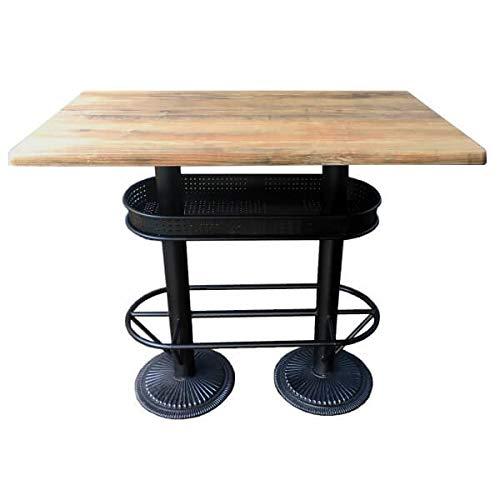 MATHI DESIGN Table bistrot/Industriel Plateau Effet Bois Vieilli