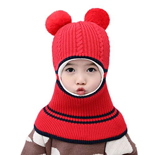 TENDYCOCO Gorro de Bufanda de Punto para Niños Encantador Cálido Chal de Bebé Crochet Pompón Gorro Gorro Infantil