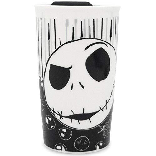 Silver Buffalo Disney Nightmare Before Christmas Jack with Bones Ceramic Travel Mug, 10 Oz, black and white