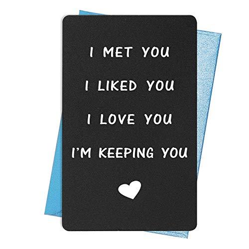 Funny I Love You Card, Birthday Card, Anniversary Card for Boyfriend Husband Fiance, I Met You, I Liked You, I I ove You, I'm Keeping You
