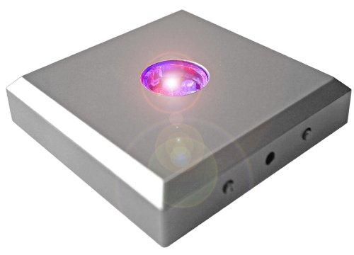 Kaltner Präsente LED Untersetzer Farbverlauf Farbwechsler Leuchtsockel mit Color-Stop Funktion für Stimmungslichter Silber (3 LEDs)