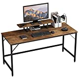HOMEYFINE Computer Desk,Laptop Table with Storage for Controller,60 Inches,Wood and Metal,Study Table for Home Office(Vintage Oak Finish)