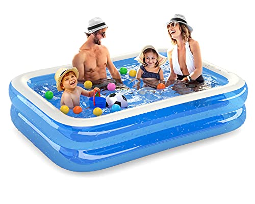 Inflatable Kiddie Pools Swimming Pools Garden Family Lounge Pools Baby Toddler Paddling Pool Outdoor Backyard Family Swimming Pool for Kids Adults Boys Girls (Blue, 79x59x20)