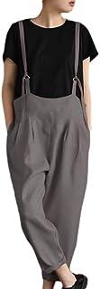Salopette Senza Maniche Moda Donna Salopette Lunga in Lino Cotone Sciolto con Tasche