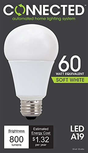 TCP LED Connected A19, 60 W Equivalent (11W), Soft White (2700K), WiFi Enabled Wireless Smart Standard Light Bulb