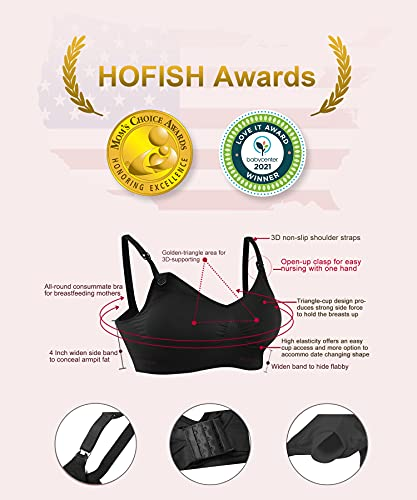 HOFISH Full Bust Maternity Seamless Wireless Nursing Bra 3 Pack Black, X-Large
