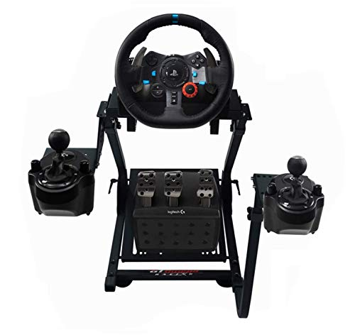 GT Omega Racing Wheel Stand PRO for Logitech G923 G29 G920 with Shifter Mounts V1 & V2, Thrustmaster T500 T300 TX & TH8A - PS4 Xbox Fanatec - Tilt-Adjustable to Ultimate Gaming Console Experience