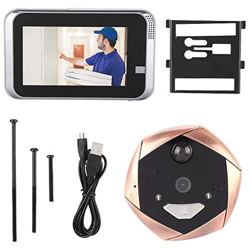 Videoportero Intercom Video Doorbell 720P Wifi Visor De Puerta Inteligente Video Timbre De Seguridad Cámara De Video En Tiempo Real Timbre De Video Visión Nocturna Visor De Puerta Timbre De Ojo De Gat
