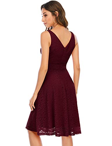 Kleid Damen Damen Kleider Abendkleider Gelb kurz Rockabilly Kleider Damen Vintage Kleid Kleid Hochzeit gast cocktailkleid festliches Kleid mädchen Burgundy L