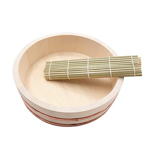 WSHA Sushi Oke Riz Mélangement Baignoire de Refroidissement de Riz Hangiri Cuisine coréenne Cuisine Coreau avec Tapis Roulant de Sushi pour Restaurant Home Cuisine - Pin Blanc,33x7.5cm