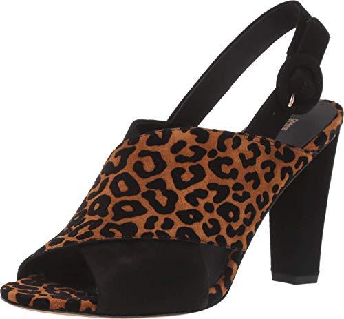 Diane von Furstenberg Bailie 90 Camel/Black Flocked Leopard Suede 7.5 M